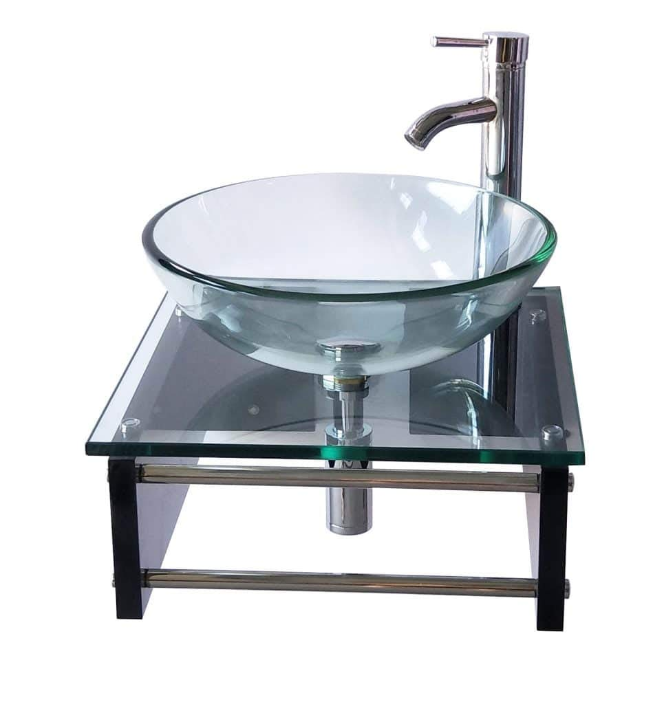 18 Modern Wall Mount Clear Glass Sink Espresso Bathroom Vanity