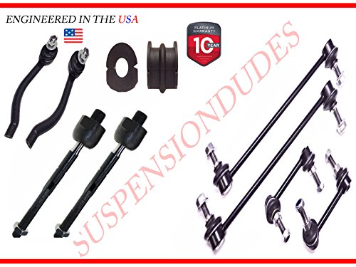 - 10PC Front & Rear Sway Bar Links+ tie rod+Bushings FOR Nissan Altima 24.4MM Bar