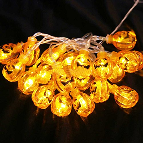 [Pumpkin String Lights, SOMAN 7.2ft Yellow Smiling Face Pumpkin String Lights with 20 Lights,Battery Operated] (20 Off Spirit Halloween)