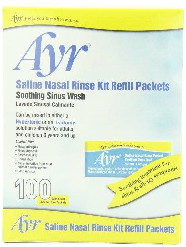 Kit Sinus Packets Rinse Refill (Ayr Saline Nasal Rinse Kit Refill Packets, 100-Count Packets (Pack of 2))