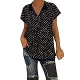 Tops for Women Casual V Neck Short Sleeve Polka Dot Print Shirts Soild Loose Blouse (S, Black)