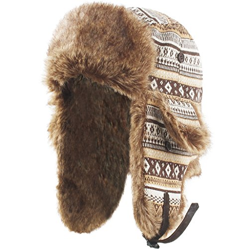 Janey&Rubbins Unisex Winter Knit Russian Ushanka Cossack Trapper Bomber Aviator Cap Hat (L, Brown)