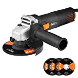 Tacklife 4-1/2-Inch Angle Grinder, 6.3-Amp 11,000 RPM with 3pcs Abrasive Wheels(Cutting Wheel, Grinding Wheel and Flap Disc) and 2 Extra Carbon Brushs | AGK31AC