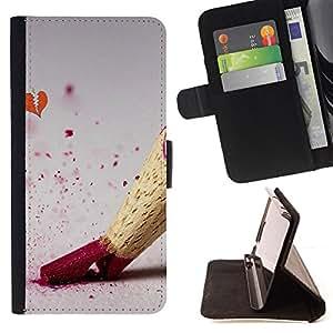 For Samsung Galaxy Core Prime / SM-G360,S-type Disegno matita di colore - Dibujo PU billetera de cuero Funda Case Caso de la piel de la bolsa protectora