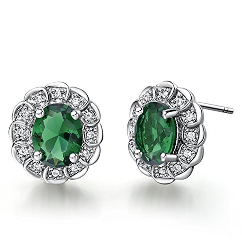 FENDINA Exquisite 18K White Gold Plated Earring Studs Birthstone Oval Cut Tiny CZ Paved Created Diamond Earrings for - Tory Birth