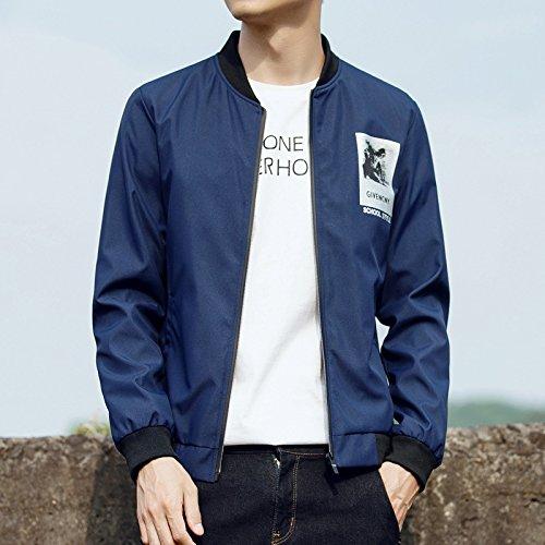 Giacca Slim Coreana Colore 2020 Uomini Collare Xxxl Marea Scuro Giacche Solido Stand Autunno Collare Blu Giovani Uomo wtUrw