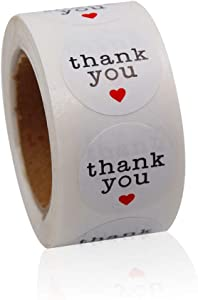 Thank You Stickers White Adhesive Label with Red Hearts for Envelope, Packages, Gifts, Wedding,1 Inch Round 500 Labels Per Roll …