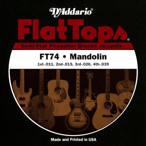 D'Addario FT74 Flat Tops Mandolin Strings, Medium, 11-39