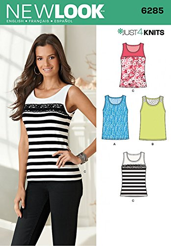 d7b873a627fbf3 New Look Ladies Easy Sewing Pattern 6285 Stretch Knit Vest Tops   Amazon.co.uk  Kitchen   Home