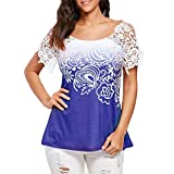 Paymenow Tops for Women Short Sleeve, Lace Patchwork Hollow Out Cut Out Back Casual Shirts Blouse (XL, Blue)