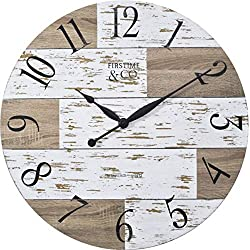 FirsTime & Co. 31062 Harper Pallets Wall Clock, 27, Shabby White