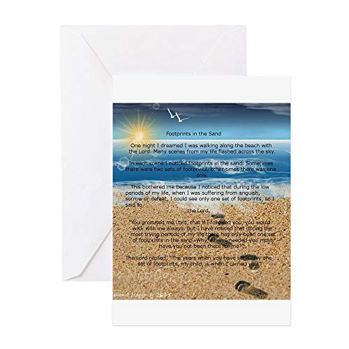 - CafePress Footprints In The Sand Greeting Cards Greeting Card, Note Card, Birthday Card, Blank Inside Glossy
