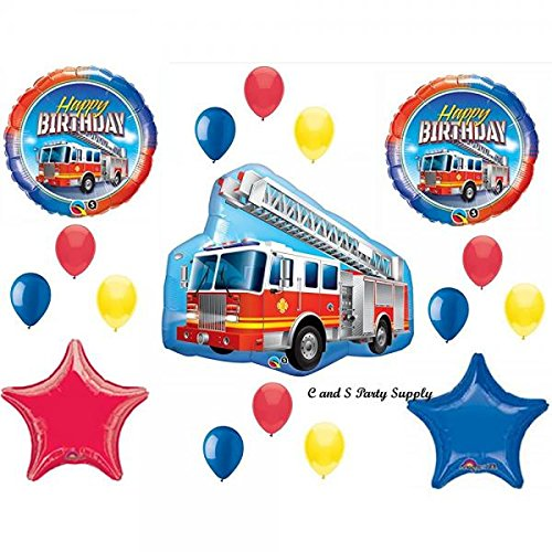 (FIRETRUCK Engine Happy Birthday PARTY Balloons Decorations Supplies Fire fighter by)