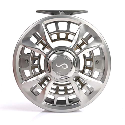 M MAXIMUMCATCH Maxcatch Sprint Expert Fully Sealed Saltwater Fly Fishing Reel CNC-machined Aluminum Alloy Body (Pearlite Silver, 7/9wt)