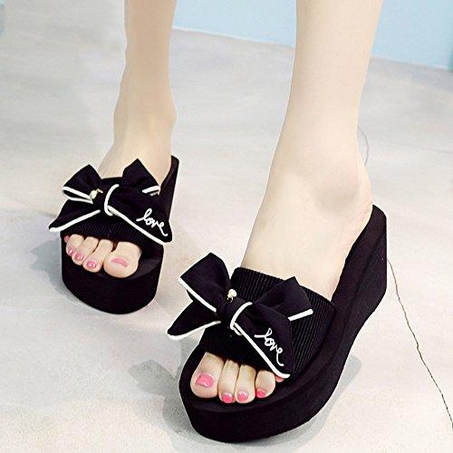 FEI Mädchen Sandalen High-heeled Mode Sandalen Strand Schuhe (schwarz / blau / grau / rosa) Rutschfest ( Farbe : Blau , größe : 37 ) Schwarz