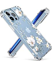 GVIEWIN Case Compatible with iPhone 13 Pro Max 6.7 Inch 2021, Clear Floral Soft & Flexible TPU Shockproof Protective Cover for Women Girls, Flower Pattern Design Phone Case