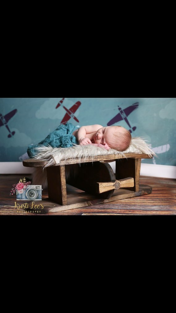 NEW to Amazon, Wooden Airplane Photography prop, Plane Photography Prop, Wooden Plane Photo Prop, Newborn Photo Prop, Toddler Plane Photo Prop
