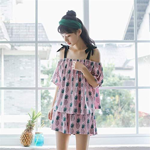 De Shorts Patrón Manga Camisas Taille Mujer Lazo Redondo Moda Cuello Pijamas Estampadas Bandage Pink Conjunto Pijama Corta Con Elastische qBw5pCfFx