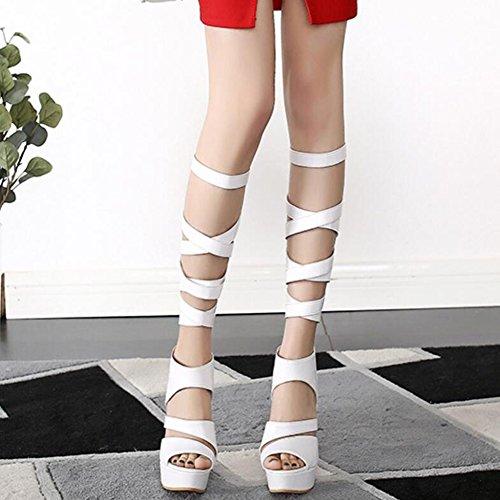 Large Da Tacchi Toe Stivali Size Ladies Cy Party Summer White Ms Roma Alti Impermeabile Per Piattaforma Sandali Donna Open Scarpe Banquet Discoteca Txgqf4pH