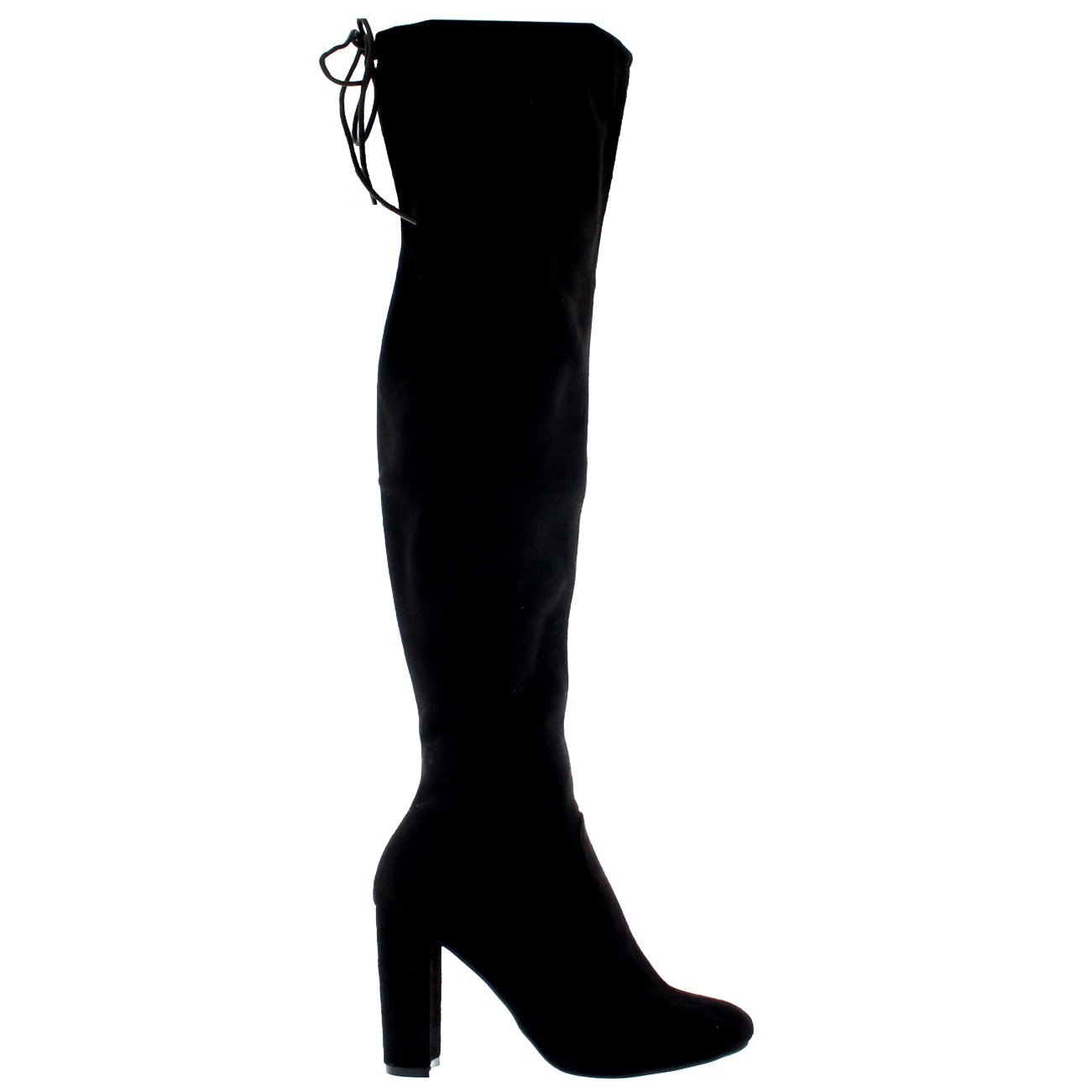 ad5b68a32ff6 Womens Block Heel Stretch Long Over The Knee Riding Wide Fit High Boots   Amazon.co.uk  Shoes   Bags