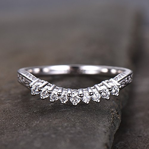 Sterling Silver Rings Curve Wedding Band CZ Wedding Ring Antique Style Filigree Vintage Band White Gold Plated