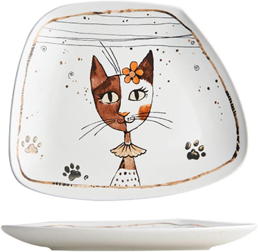 Cat Girl Cartoon Cute Ceramic Tableware Breakfast Plate Western Food Plate-Deep Dish
