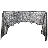 BeautySu. Halloween Decoration Fireplace/Door / Window Scarf Mysterious Black Lace Spiderweb Festive Party Supplies, 243 x 45cm / 96 x 18inch - 2pcs