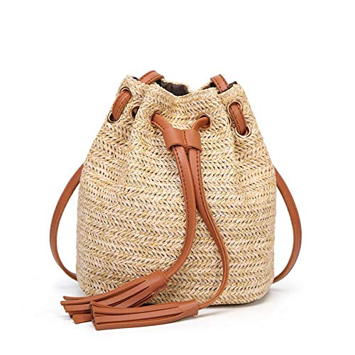 Puedo Straw Crossbody Handbag, Women Top Handle Handbag Summer Beach Purse Ladies Shoulder Bag -