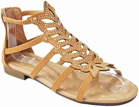c238b6ee1 Women Sparkling Crystal Rhinestone Strappy Cut Out Gladiator Flat Dress  Sandals