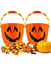 Huarumei Halloween pompoen decoratie, 3 verlichtingsmodi, pompoenemmer Halloween decoratie kinderen Jack o 'lantaarn gloeiende snoep emmer voor kinderen party decoratie