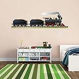 Cik177 Full Color Wall Decal Locomotive Train Railroad Track Children's Bedroom