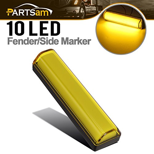 Partsam LED Clearance and Side Marker Light Submersible 10 Diodes yellow light Parking (Marker Led Side Accent)