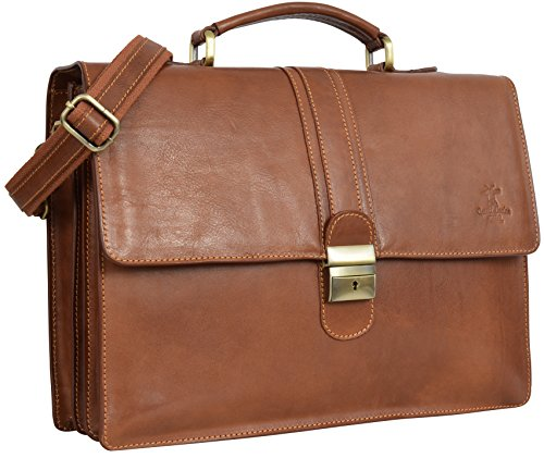 "Gusti Cuir studio ""Maxwell"" sac business made in Italy sac bureau attache-case en cuir véritable sac notebook Macbook-Pro 15"" ordinateur portable 15,4"" sac professeur marron 2B33-93-2"
