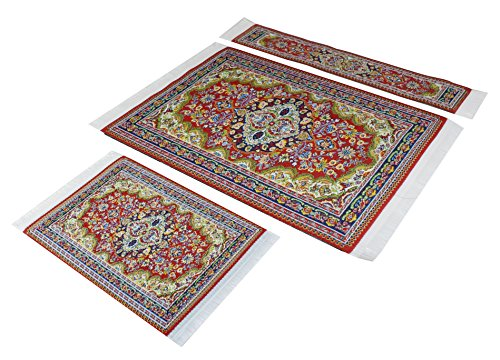 set-red-woven-rug-mouse-pad-rug-coaster-rug-bookmark-oriental-style-carpet-mousemat-miniature-rug