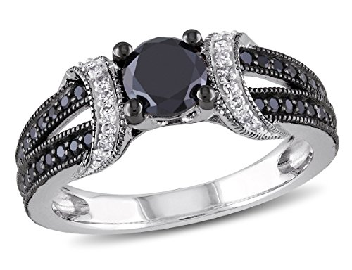 Enhanced Black and White Diamond Engagement Ring 1.00 Carat (ctw) in Sterling Silver with Black Rhodium (1 Carat Black And White Diamond Ring)