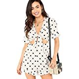 SOLY HUX Women's Summer Knot Front Polka Dot Ruffle Casual Loose Short Sleeve Jumpsuit Rompers White XS