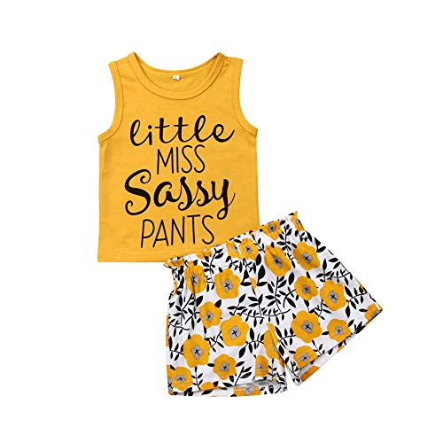 Tank Sleeveless Girls Toddler Top - 2Pcs Toddler Kid Baby Girl Little Miss Letter Print Sleeveless Tank Tops Floral Print Shorts Set (2-3T) Yellow