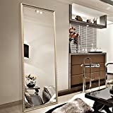 "Full Length Leaning Floor Mirror, Wood Finished Frame Oversized Rectangle Dressing Mirror (Large 65""x22"" Gold)"