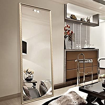 "Full Length Leaning Floor Mirror, Wood Finished Frame Oversized Rectangle Dressing Mirror (Large 65""x22"" Gold) - ✔ FULL SIZE FLOOR MIRROR- Total Size: 65"" x 22"", Glass Size: 61.8"" x 18.5"", large enough for you to see your entire outfit in a single glance ✔ HANG IT ON THE WALL- 2 D-ring hangers already attached, you can also easily mount to the wall vertically ✔ LEAN IT ANYWHERE!- With a stable stand, you can put this full length mirror on uncarpeted floor or wood floor and won't slip or slide around - mirrors-bedroom-decor, bedroom-decor, bedroom - 516LgamtSFL. SS400  -"