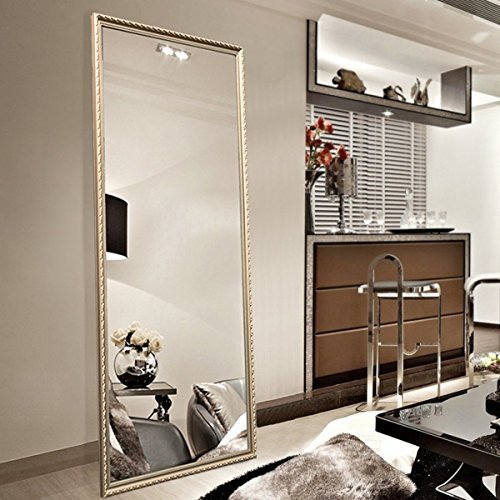 Full Length Leaning Floor Mirror Wood Finished Frame Oversized Rectangle Dressing Mirror Large 65x22 Gold