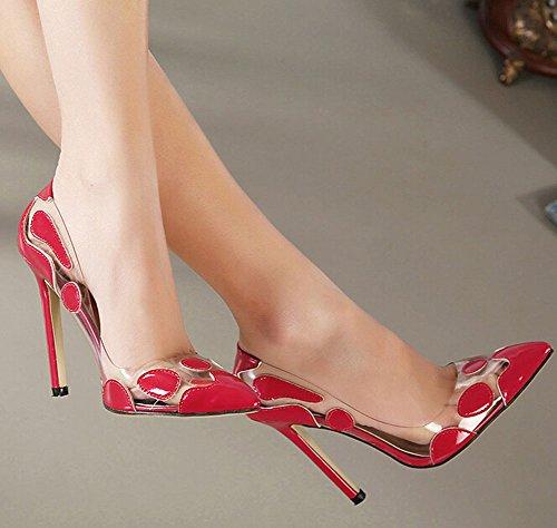 Pumpen Eleganten Einzigen Flach High Mund Schuhe Kleid 2015 Reizvolle Frühjahr Frauen Rote Heels OYqHxxF5
