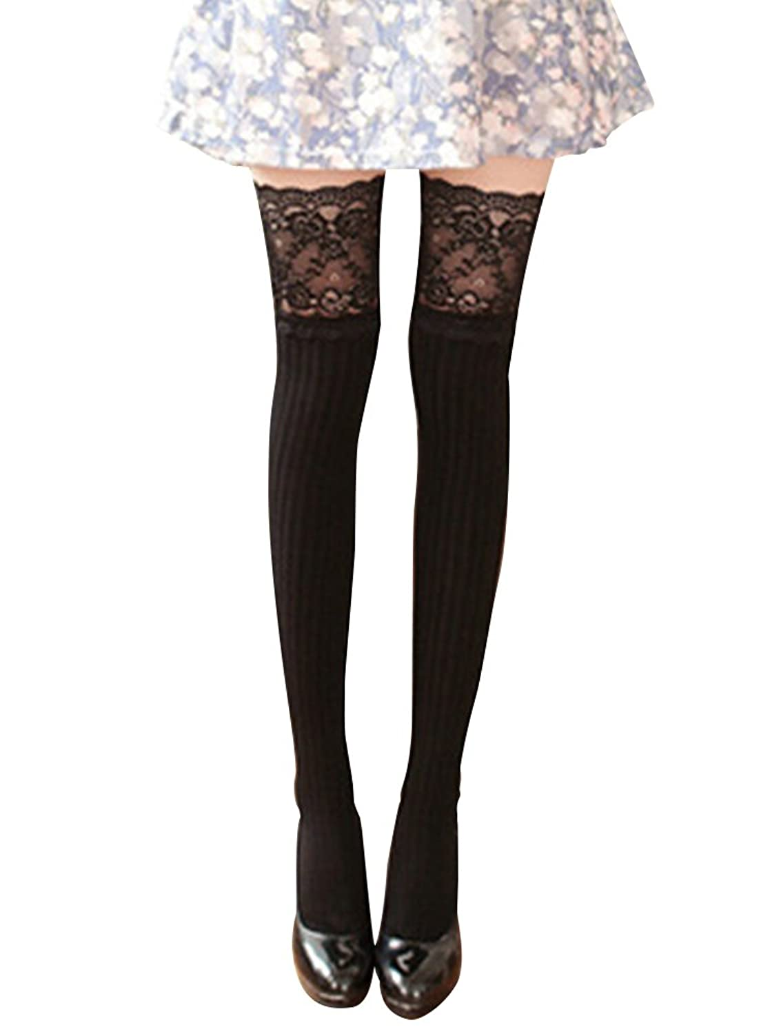 Steampunk Tights  & Socks Vertical Lace Cotton Knee High Tube Women Sexy Stockings $8.90 AT vintagedancer.com