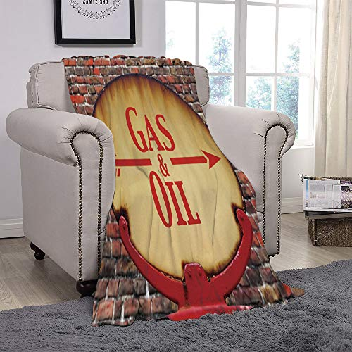 SCOCICI Super Soft Throw Blanket/Man Cave Decor,A Rusty Old Retro Arrow Sign with Text Gas and Oil Fuel Station,Light Brown Red Brown/for Couch Bed Sofa for Adults Teen Girls Boys ()