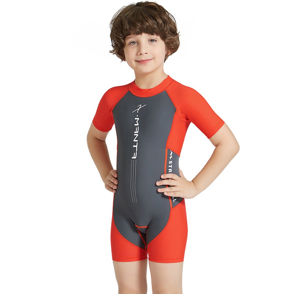 inlzdz Kids Boys Short Sleeve Rash Guard Swimsuit Vest One Piece Swimwear Sun Protection Wetsuit Swimming Costume with Hat UPF 50+
