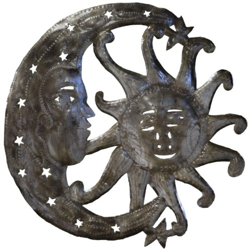 (Le Primitif Galleries Haitian Recycled Steel Oil Drum Outdoor Decor, 14 by 14-Inch, Sun and Moon)