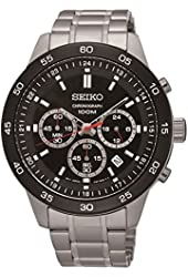 Seiko #SKS527 Men's IP Bezel Stainless Steel Black Dial Chronograph Sports Watch