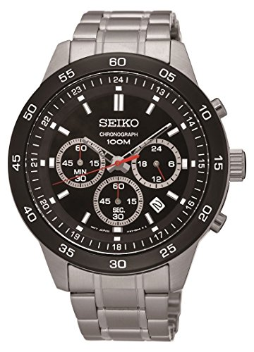 Seiko #SKS527 Men's IP Bezel Stainless Steel Black Dial Chronograph Sports Watch by Seiko Watches