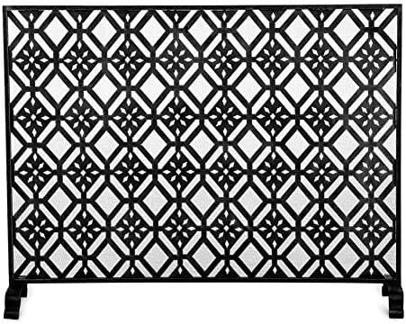 大きな単一パネル暖炉スクリーン、ゴールド錬鉄火画面メタル装飾メッシュ、赤ちゃんの安全フェンススパークガードカバー付き (Color : Black)