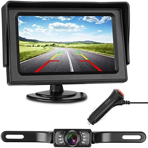 iStrong Backup Camera and Monitor Kit Wire Single Power Supply For Whole System Rear View Constantly View License Plate Reverse Camera For Car SUV Vehicle Pickup Waterproof Night Vision Guide Lines