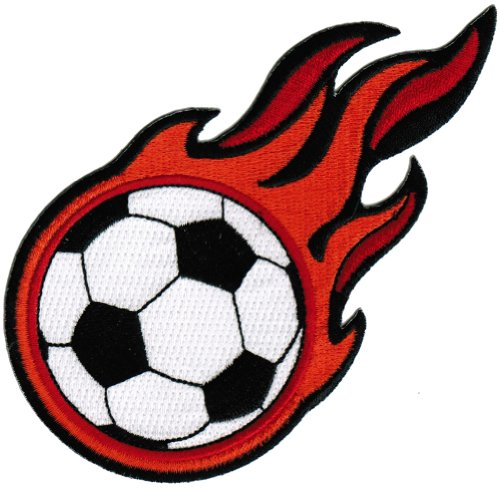 - Flaming Soccer Ball Patch Embroidered World Cup Iron-On Football Emblem